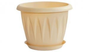 Горшок Алиция 0,6 литра (120мм) с поддоном Белая глина  (М3063)