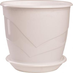 Горшок Венеция  диаметр 21 см.  4,1 литра  белый с поддоном  (5PL0096)