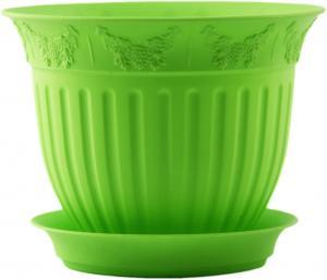 Горшок Виноград  диаметр 13  0,5 литра зеленый с поддоном (5PL0129)