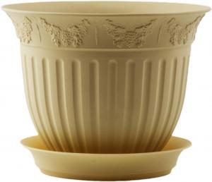 Горшок Виноград  диаметр 13  0,5 литра кремовый с поддоном  (5PL0130)