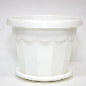 Горшок Гармония 0,7 литра с поддон белый (М1408)