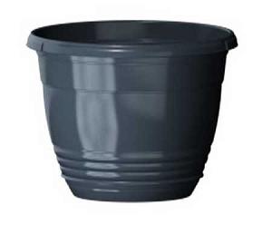 Горшок Глория  диаметр 21см.  3,3 литра  антрацит с поддоном  (5PL0113)