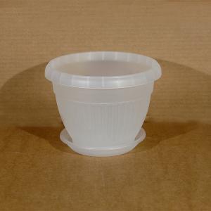Горшок Флора  диаметр 17см.  1,6 литра прозрачный с поддоном  (5PL0279)