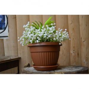 Горшок Флора  диаметр 17см.  1,6 литра  терракотовый с поддоном  (5PL0278)