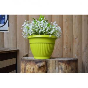 Горшок Флора  диаметр 17см.  1,6 литра  фисташковый с поддоном  (5PL0282)